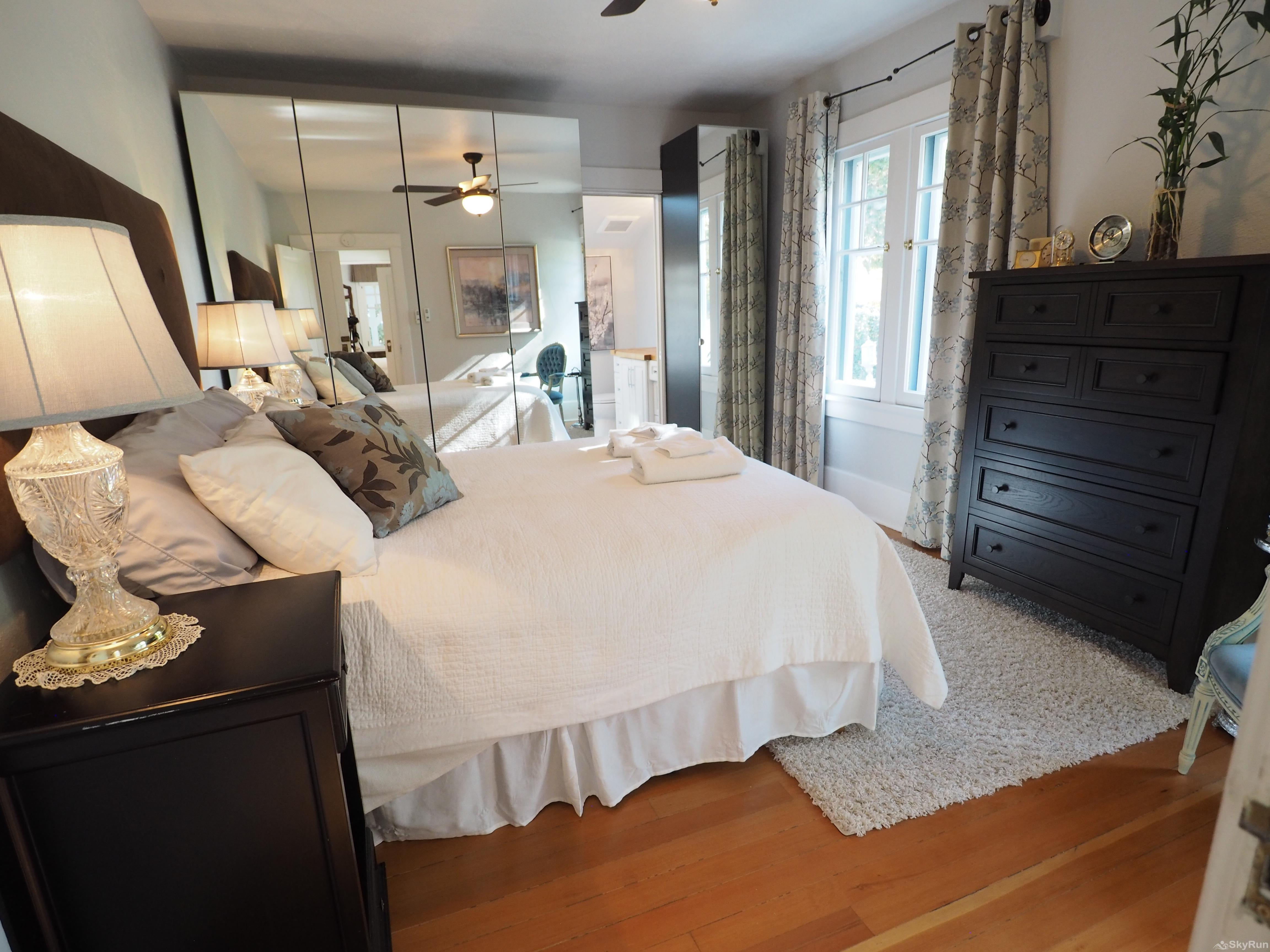 Penticton Country Estate The Marble Master bedroom is on the main floor and provides a luxurious guest experience