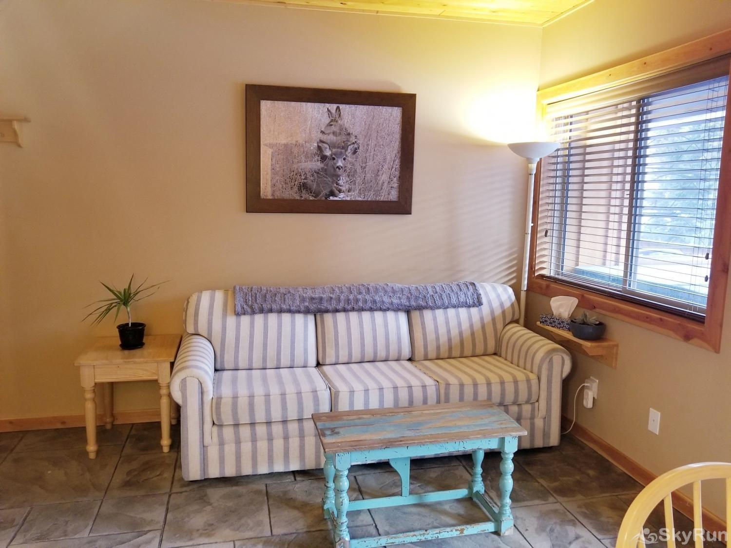 Silver Bullet 1 bedroom with hot tub Living Room